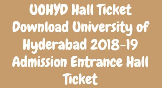 UOHYD Hall Ticket Download