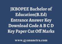 JKBOPEE BEd Entrance Answer Key
