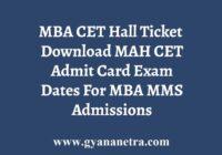 MAH MBA CET Hall Ticket