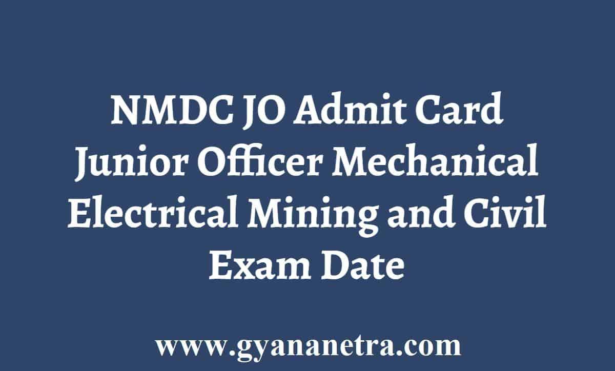 NMDC Junior Officer Admit Card