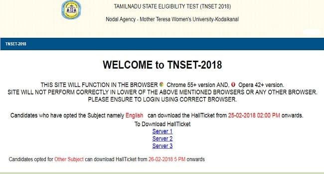 TNSET Hall Ticket