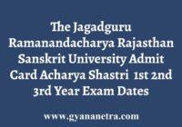 JRRSU Acharya Shastri Admit Card