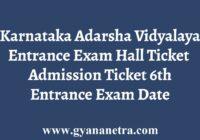 Karnataka Adarsha Vidyalaya Entrance Exam Hall Ticket