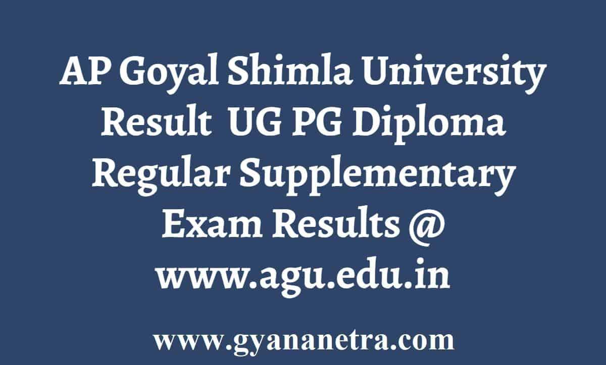 APG Shimla University Result