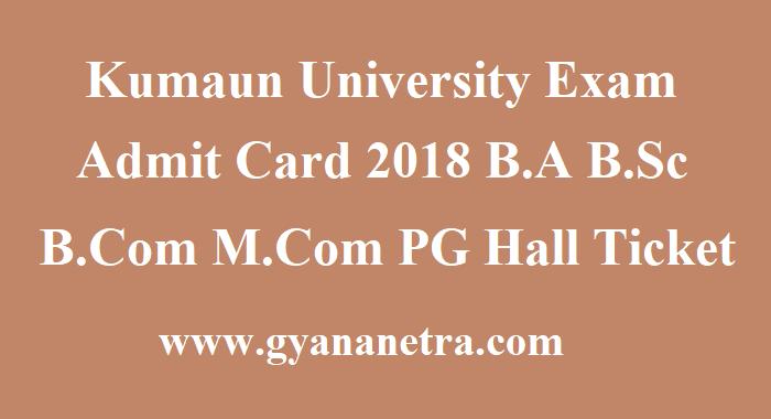 Kumaun University Exam Admit Card