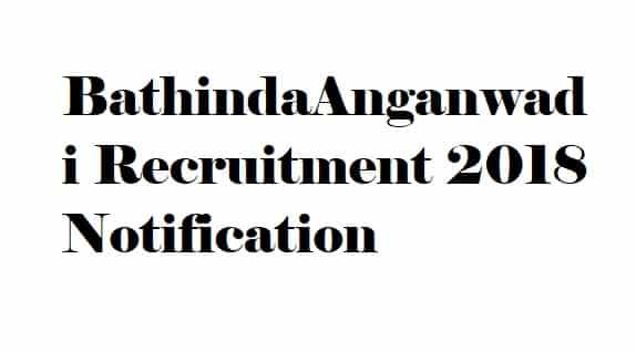 Bathinda Anganwadi Recruitment 2018