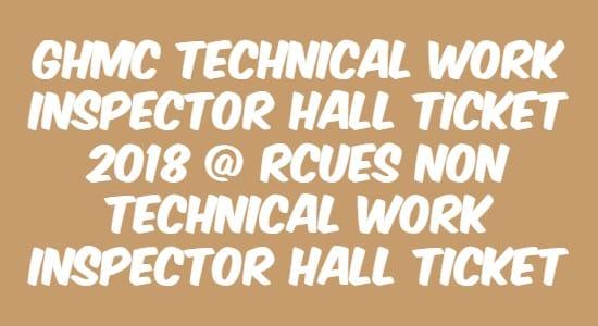 GHMC Technical Work Inspector Hall Ticket