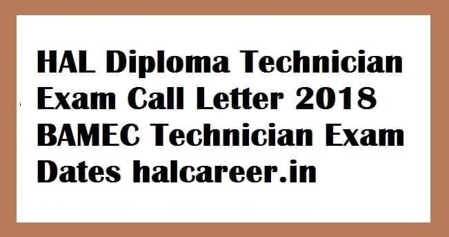 HAL Diploma Technician Exam Call Letter 2018