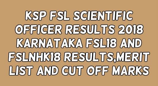 KSP FSL Scientific Officer Results
