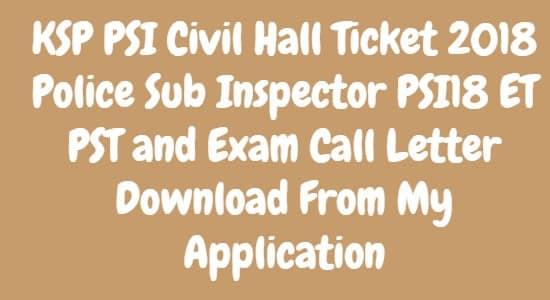 KSP PSI Civil Hall Ticket 2018