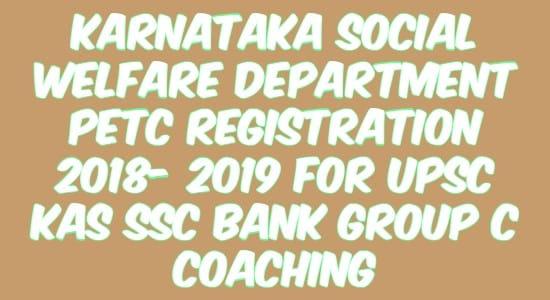 Karnataka Social Welfare Department PETC Registration