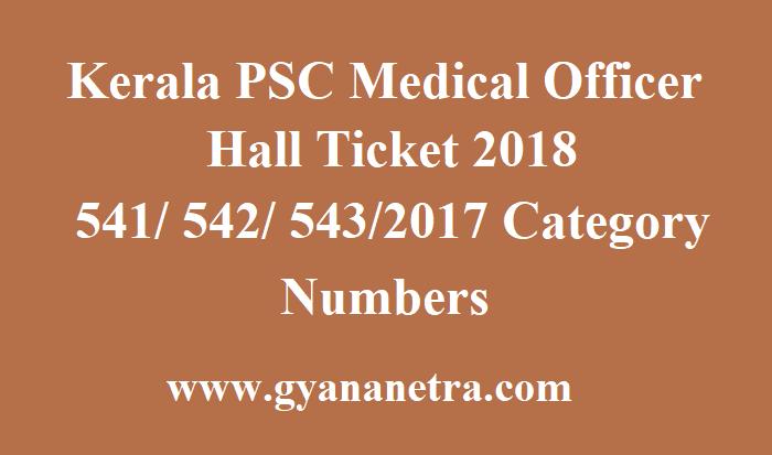 Kerala PSC Medical Officer Hall Ticket
