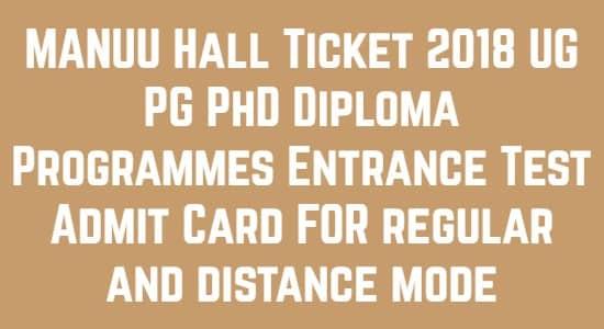 MANUU Hall Ticket