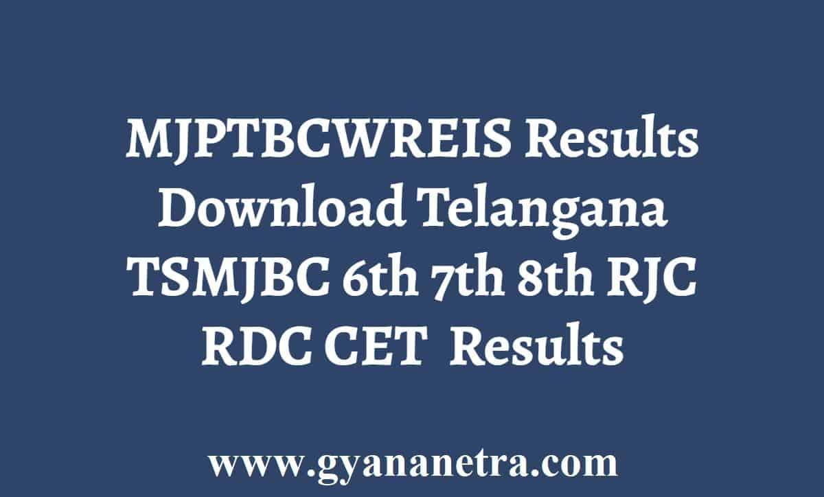 MJPTBCWREIS Results 2021 Download Telangana TSMJBC RJC RDC CET 2021 Results