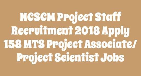 NCSCM Project Staff Recruitment