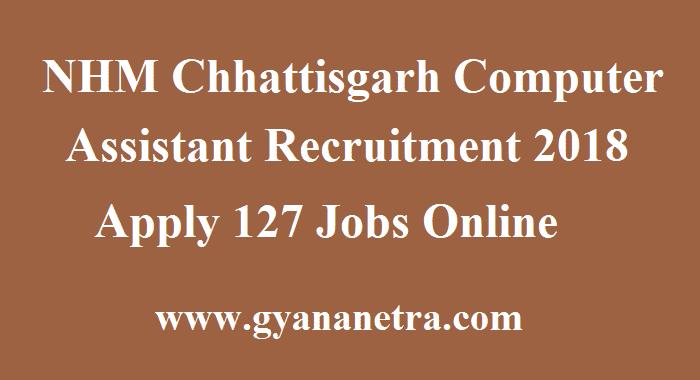NHM Chhattisgarh Computer Assistant Recruitment