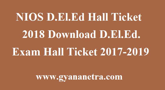 NIOS D.El.Ed Hall Ticket