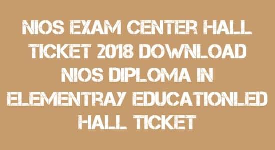 NIOS Exam Center Hall Ticket