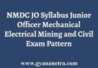 NMDC Junior Officer Syllabus