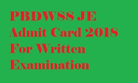 PBDWSS JE Admit Card