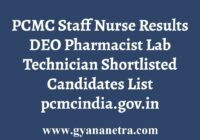 PCMC Staff Nurse Results Select List