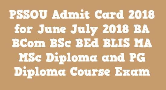 PSSOU Admit Card