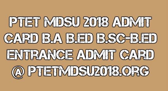 PTET MDSU 2018 Admit Card