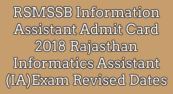 RSMSSB Information Assistant Admit Card