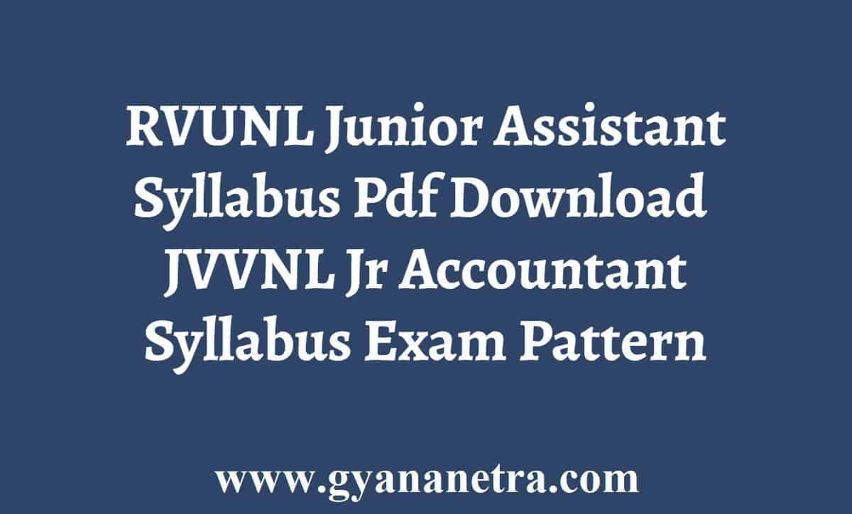 RVUNL Junior Assistant Accountant Syllabus