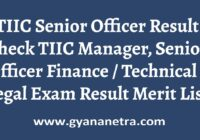 TIIC Senior Officer Result Check Online