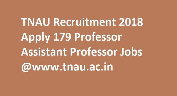 TNAU Recruitment 2018
