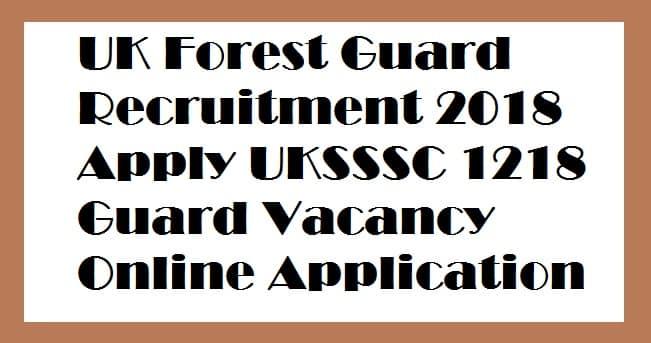 UK Forest Guard Recruitment