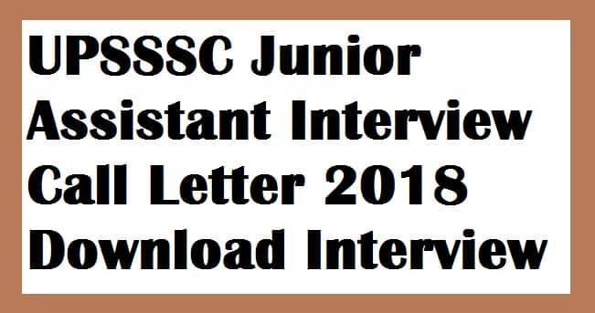 UPSSSC Junior Assistant Interview Call Letter