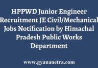 HPPWD Junior Engineer Recruitment