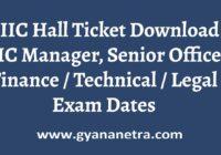 TIIC Hall Ticket Senior Officer Manager Exam Dates