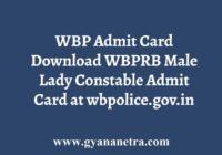 WBP Admit Card Download