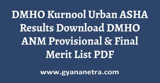 DMHO Kurnool Urban ASHA Results Check Online