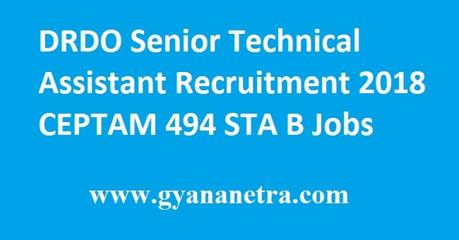 DRDO Senior Technical Assistant Recruitment 2018