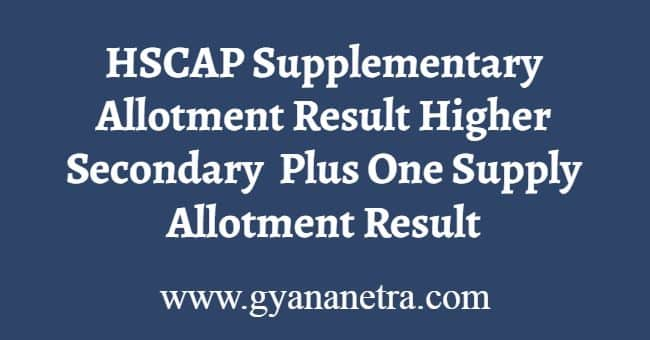 HSCAP Supplementary Allotment Results Download