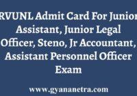 RVUNL Admit Card Call Letter