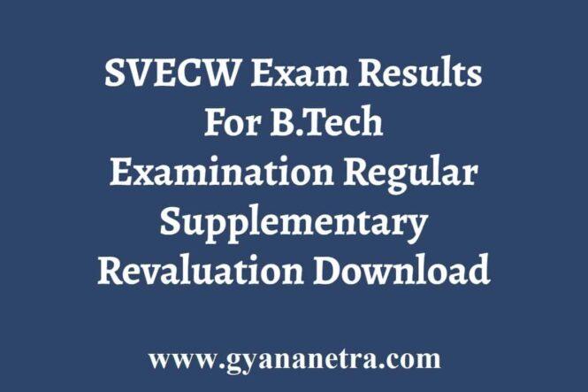 SVECW BTech Exam Results