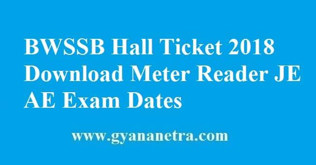 BWSSB Hall Ticket