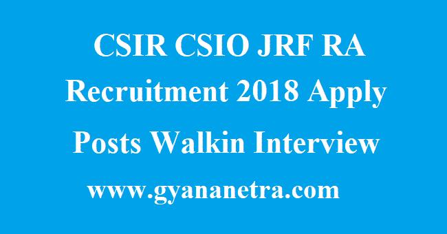 CSIR CSIO JRF RA Recruitment