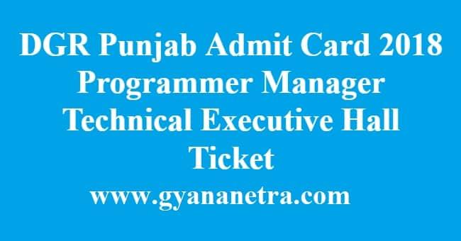 DGR Punjab Admit Card