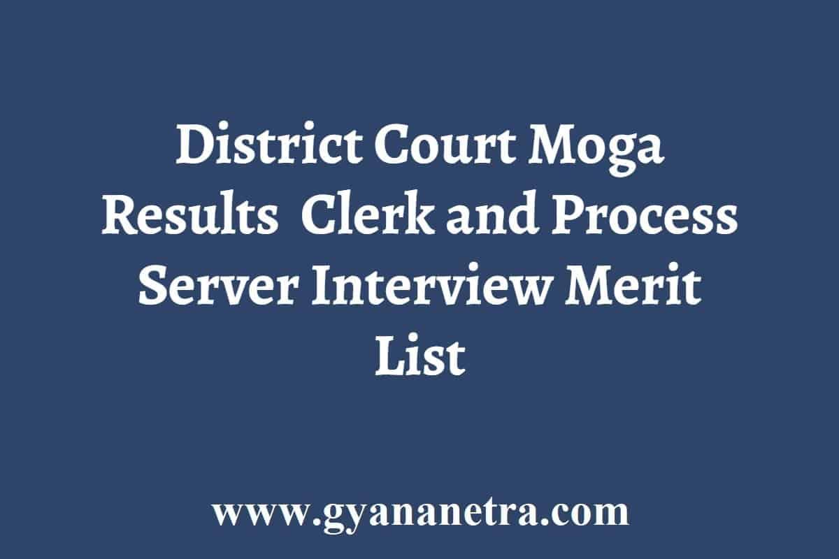 District Court Moga Clerk Peon Results