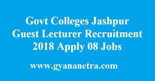 Govt Colleges Jashpur Guest Lecturer Recruitment