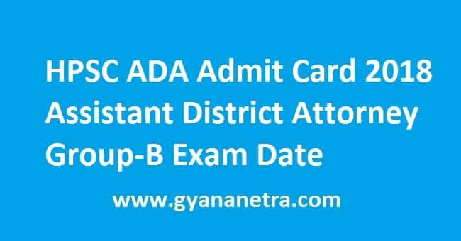 HPSC ADA Admit Card