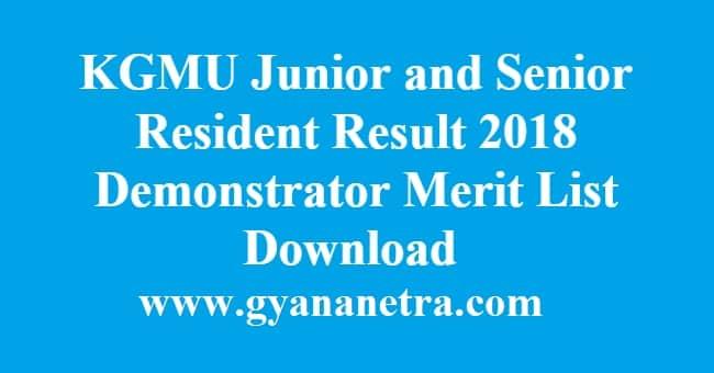 KGMU Junior and Senior Resident Result