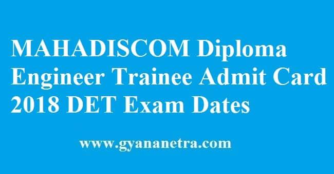 MAHADISCOM Diploma Engineer Trainee Admit Card