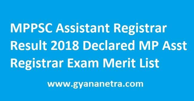 MPPSC Assistant Registrar Result